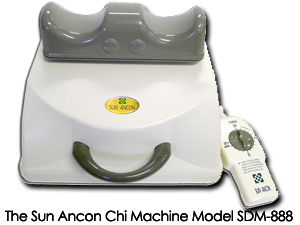 The Sun Ancon Chi Machine™ Model SDM-888 is a therapeutic massager and aerobic exerciser that oxygenates, tones, strengthens the body, increases feelings of energy, aliveness and well-being, stimulates the lymphatic system and exercises and balances the spine.